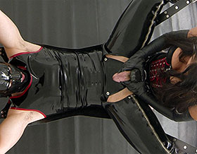 Slave in leather sex sling gets strapon fucked by Mistress-Picture1
