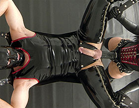 Slave in leather sex sling gets strapon fucked by Mistress-Picture3