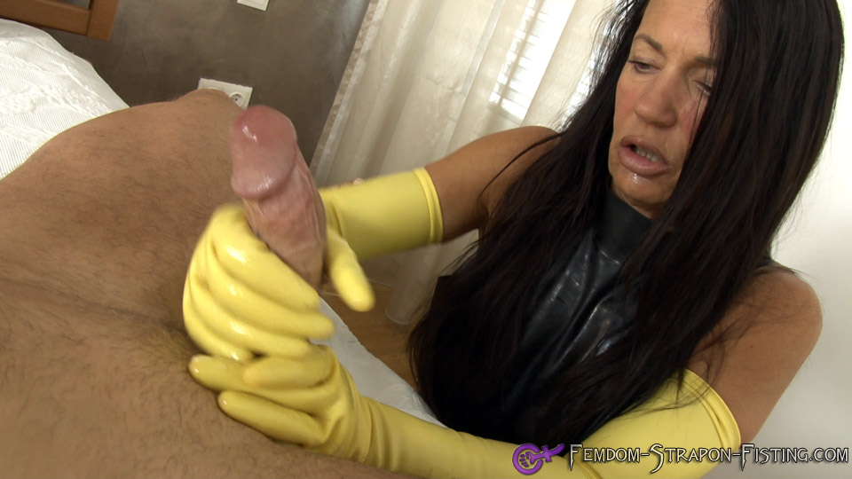 Handjob with long latex gloves until he comes shot in POV