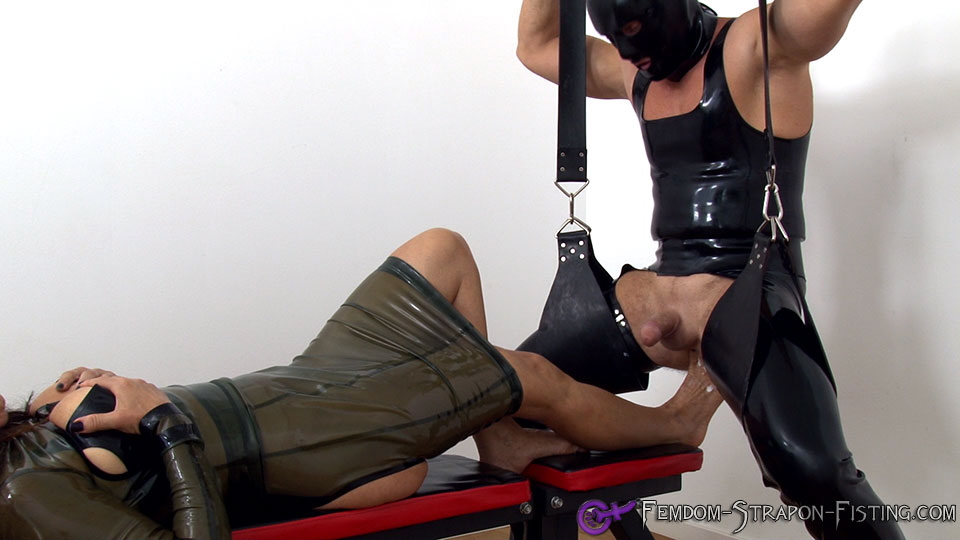 Femdom domina destroys her slaves ass with anal foot fisting