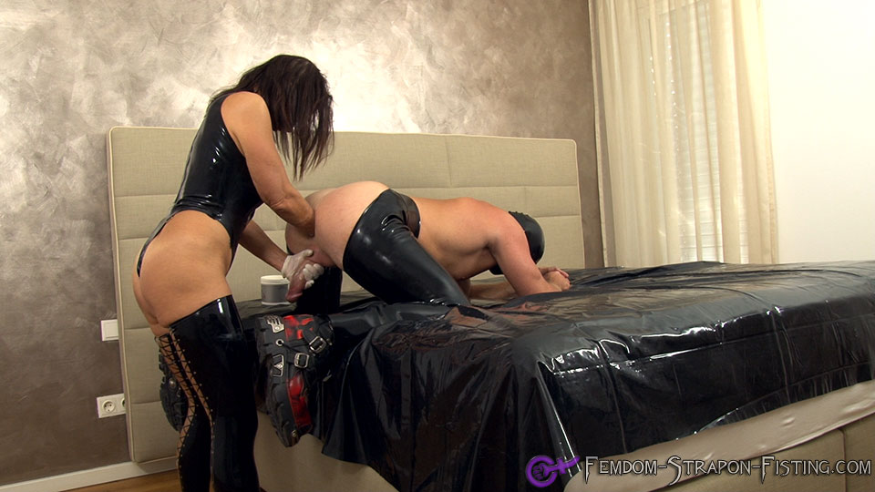 Slave cums with a fist in his ass during femdom deep fisting anal
